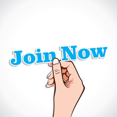 Join Now  word in hand stock vector