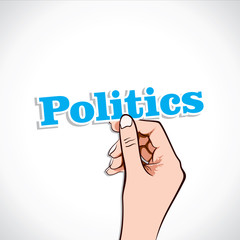 Politics word in hand stock vector