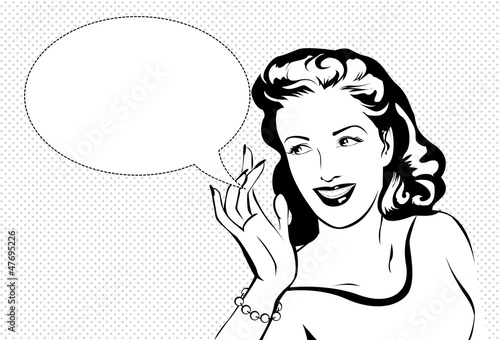 Line Art Jukebox : Quot vintage woman whispering stock image and royalty free
