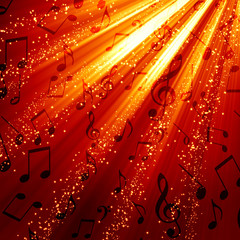 Musical notes on a burning background