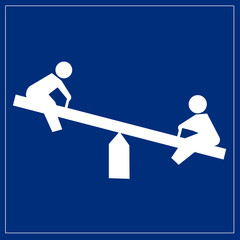 Fototapete - Schild blau - Spielplatz