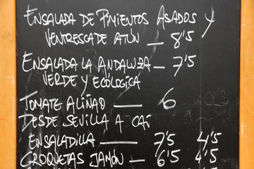 Spanish menu in Santa Cruz de Tenerife