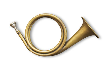 copper hunting horn with clipping path included Wall mural