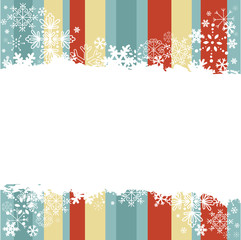 Winter invitation postcard with snowflakes