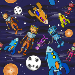 Seamless pattern cartoon children astronauts