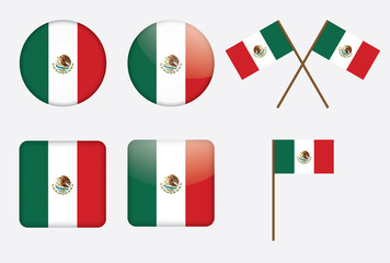 set of badges with flag of Mexico vector illustration