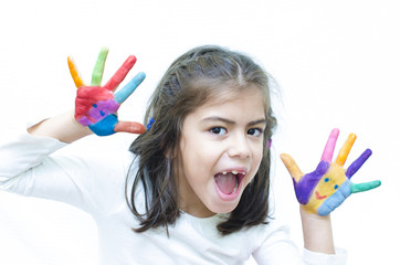 Girl Shouting with Colorful Hands