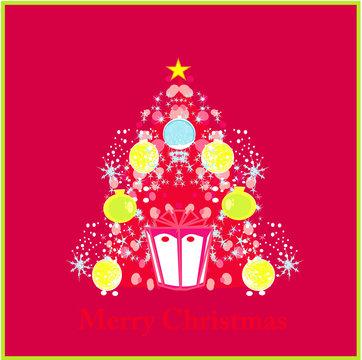 Stylized christmas tree card