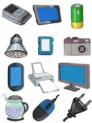 set of vector, sketch illustration of electronics