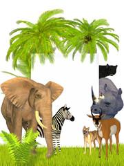 Safari animals frame