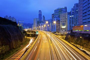 Traffic in Hong Kong downtown