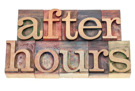 after hours text in wood type