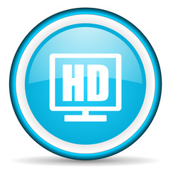 hd display blue glossy icon on white background