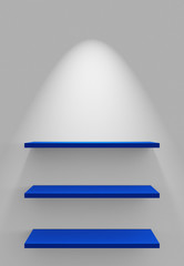 Drei Regale an Wand mit Beleuchtung - Weiß Blau