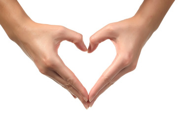Woman hand sign Love Heart