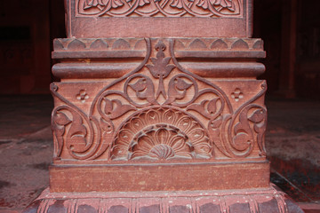 detail of column base at Agra fort India