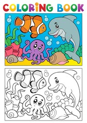 Coloring book with marine animals 6
