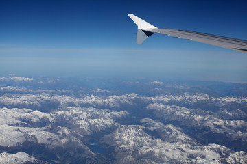 Looking over the alps from jetplane