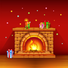 Fireplace with candles and gifts on red background