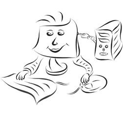 desktop computer doodle cartoon vector