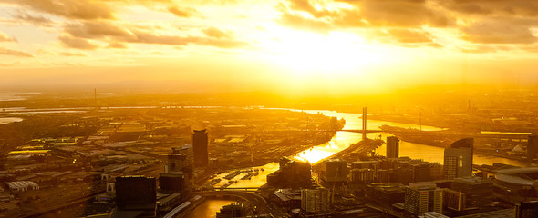 Dramatic sunset on a modern metropolis