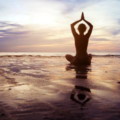 Wall Mural - yoga at sunset