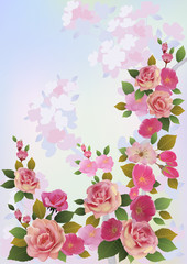 Roses . Spring bouquet of flowers .