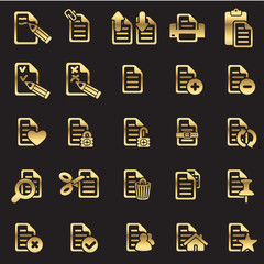 set of files icons - golden line