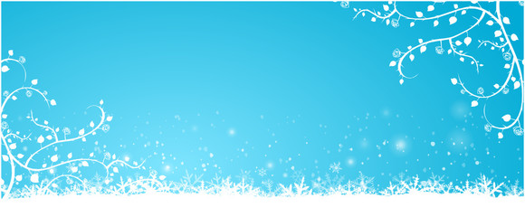 Blue Winter Background with roses and snow