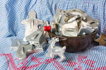 Bowl full of vintage cookie cutters