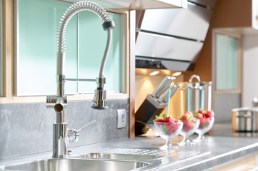 Professional single lever faucet in modern kitchen