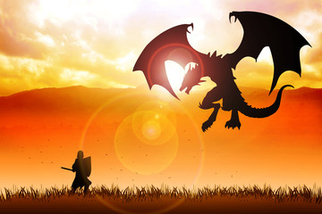 Foto op Canvas Ridders Silhouette illustration of a knight fighting a dragon