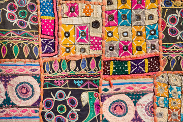 Indian patchwork carpet in Rajasthan, Asia Fototapete