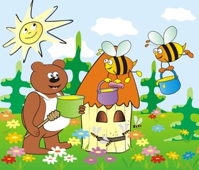 Poster Ours hive and bear