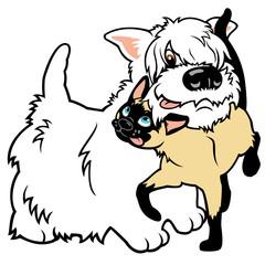 cartoon terrier and cat