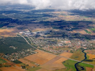 Aerial view of Loddekopinge city in Sweden