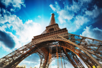 Fototapete - Paris. Beautiful view of Eiffel Tower with sky sunset colors