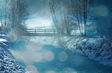 Zelfklevend Fotobehang Groen blauw Winter
