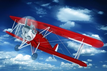 Spoed Fotobehang Vliegtuigen, ballon Biplane on the Sky