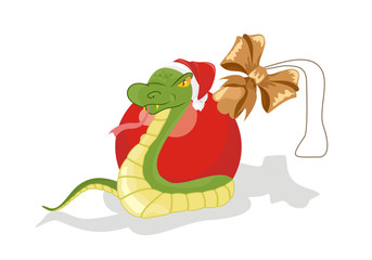 Snake with Christmas ball