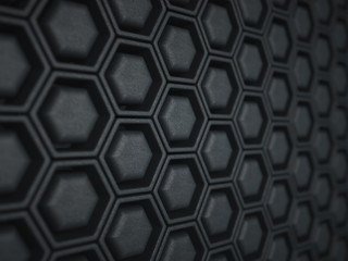 Black leather background with cells or combs