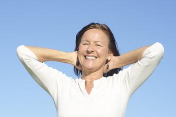 Joyful senior woman isolated outdoor