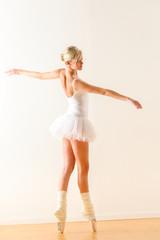 Beautiful ballet dancer dancing in the studio