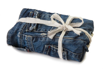 A gift covered with denim