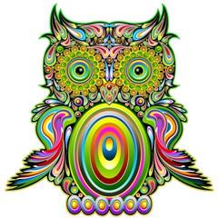 Door stickers Draw Owl Psychedelic Pop Art Design-Gufo Psichedelico Decorativo