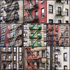 Fototapete - Collage de façades avec escalier de secours - New-York