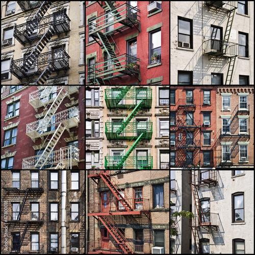 collage de fa ades avec escalier de secours new york photo libre de droits sur la banque d. Black Bedroom Furniture Sets. Home Design Ideas