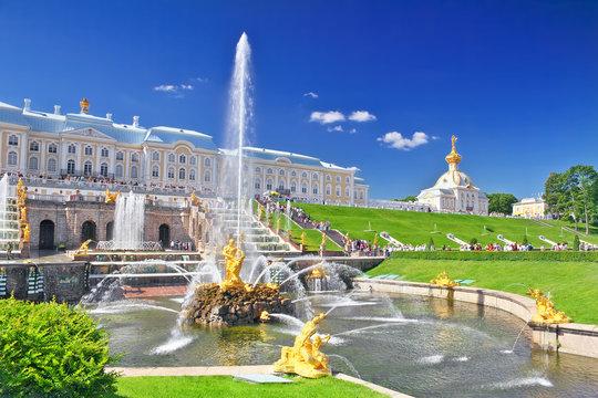 Grand cascade in Pertergof, Saint-Petersburg, Russia.