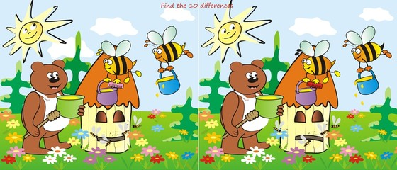 hive and bear-find 10 differences