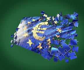 The European Union puzzle with Euro symbol  economic crisis